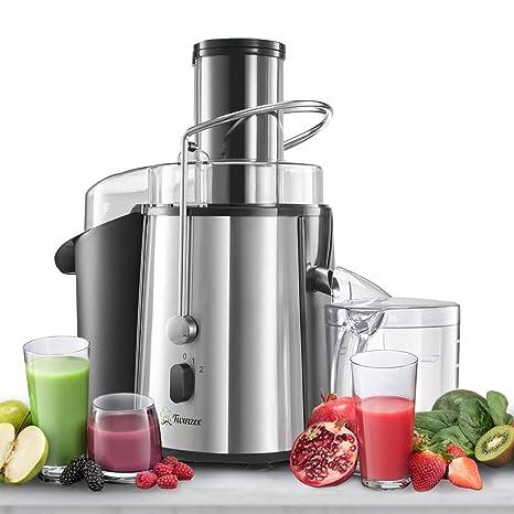 ⭐Licuadoras para Verduras y Frutas - Gran Potencia (850 W) y 2 Velocidades - Licuadora Exprimidor Zumo Gran Apertura (75 mm), Patas Antideslizantes y ...