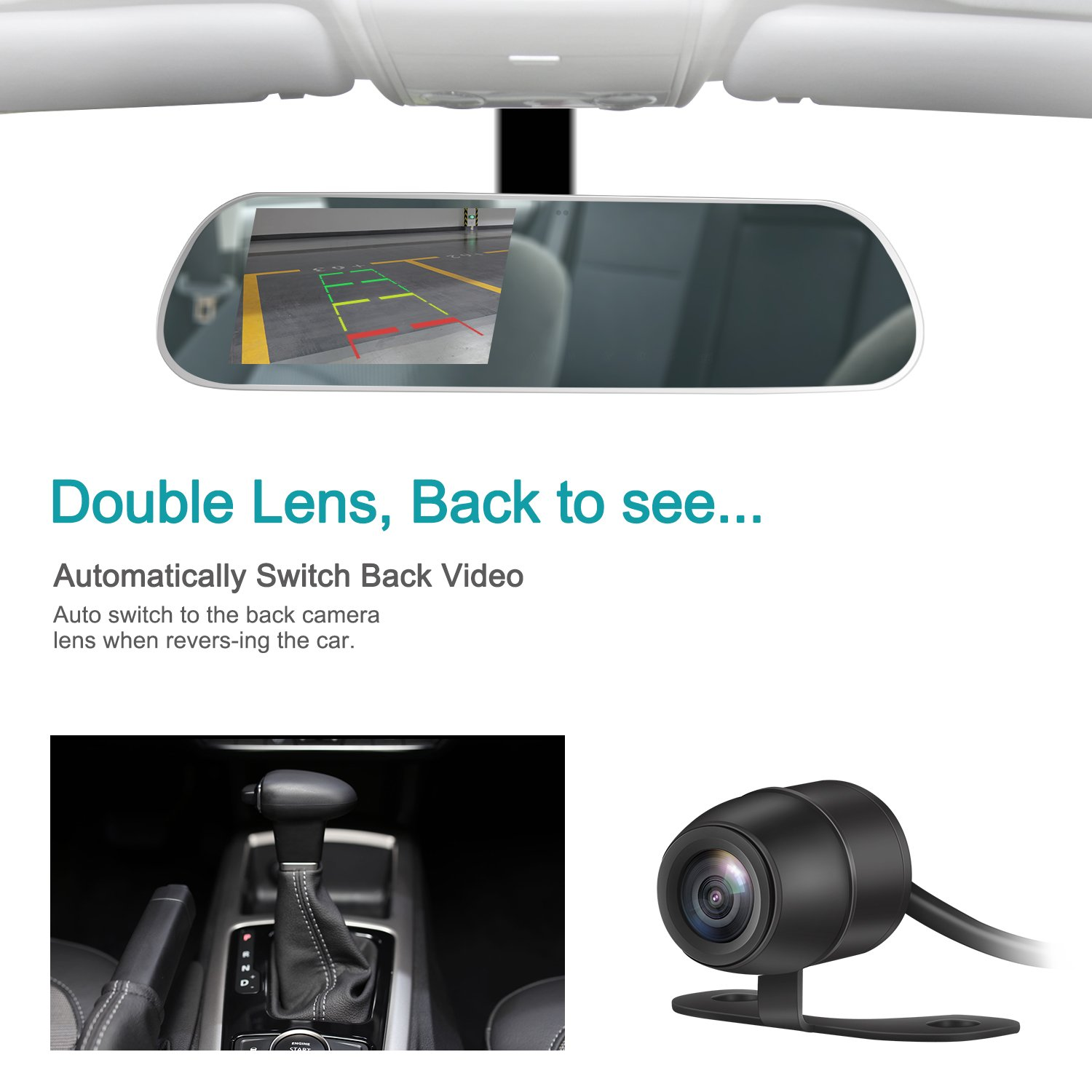 TryAce T9P Dual Dash Cam,FHD 1080P Rearview Mirror Backup Camera 4 IPS Screen with G-Sensor,WDR,Loop Recording Super Nights Vison Rear View Reverse Front and Rear Car Dash Camera camera video recorder T9P
