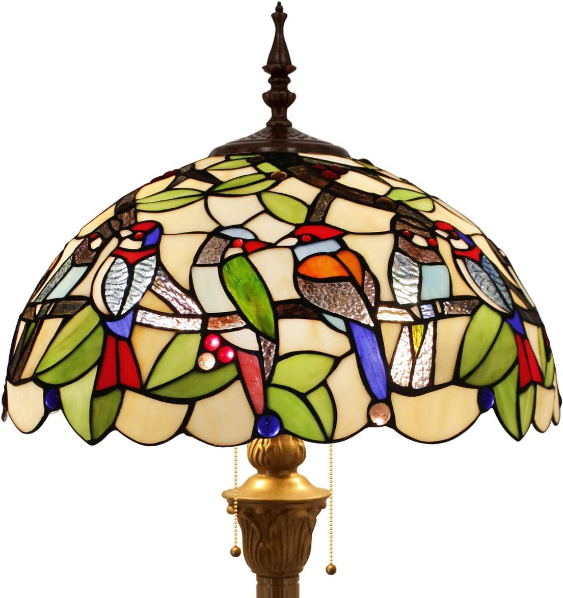 Tiffany Style Floor Standing Lamp 64 Inch Tall Double Birds Design Stained Glass Shade 2E26 Antique Base for Bedroom Living Room Reading Lighting Coffee Table Art S805 WERFACTORY