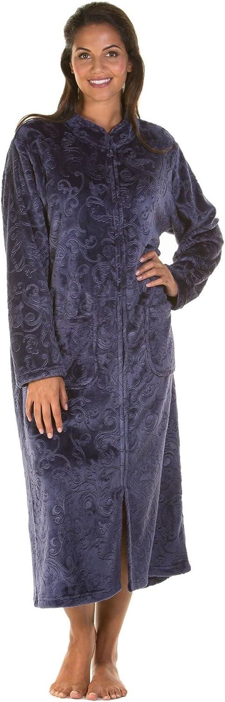 Damas, con cremallera hasta tacto suave paño grueso y suave relieve de la bata, con cremallera del traje 6623
