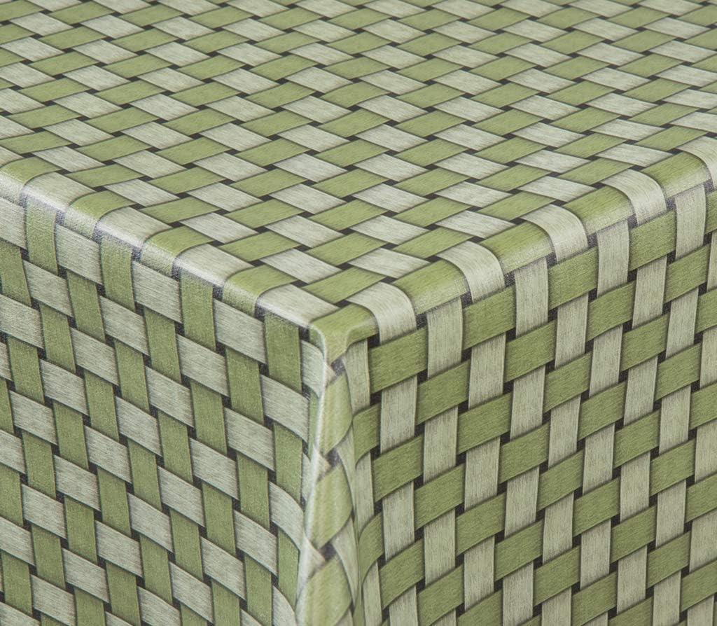EHT Mantel de hule para mesa de jardín, redondo, rectangular, ovalado, en diferentes tamaños, se vende por metros, color verde, verde, 140 x 100 cm Eckig