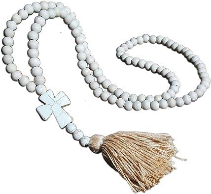 Vintage Bohemian Wood Handmade Beaded Necklace Tassel Pendant Jewelry Long Chain