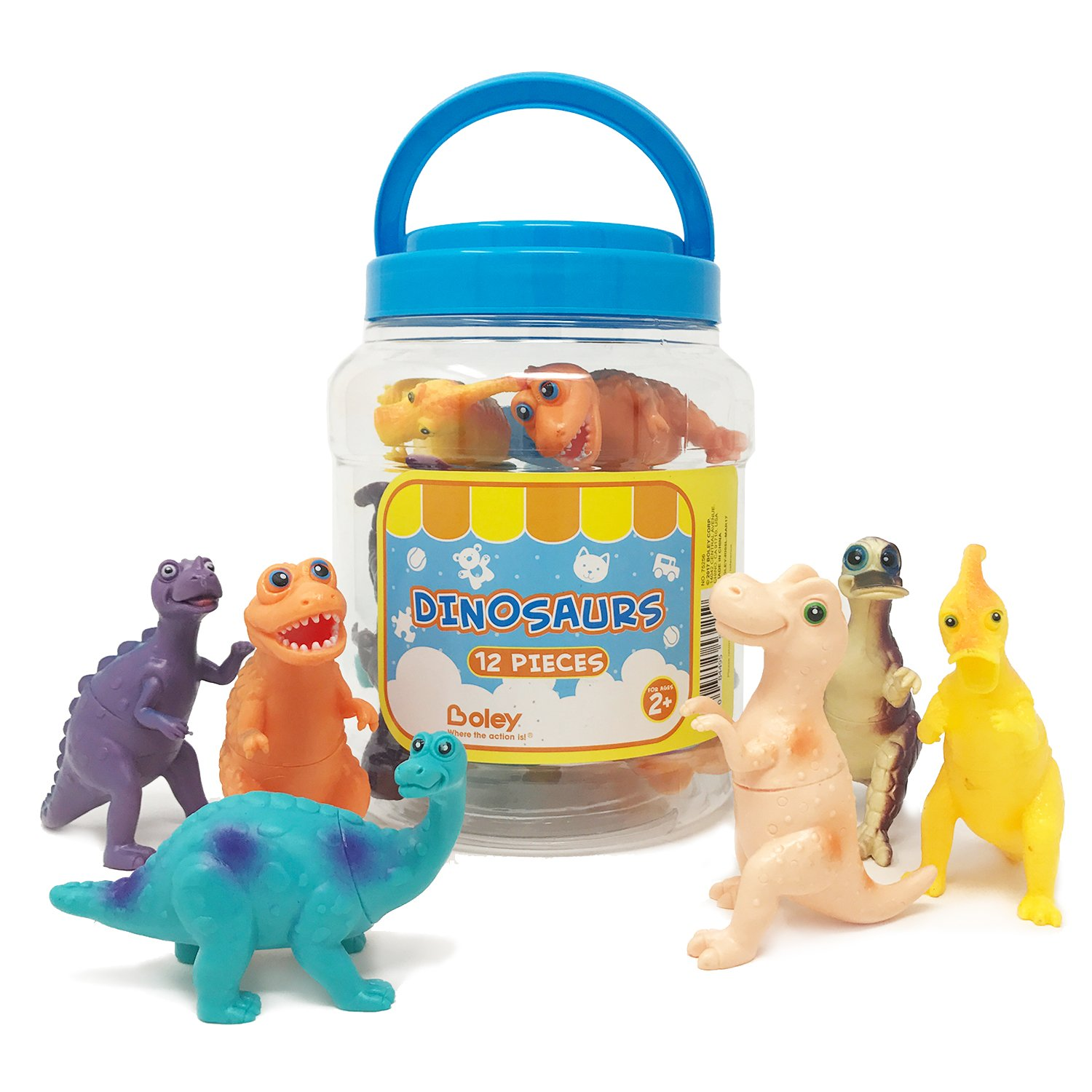 Amazon Boley Educational Toys For Kids And Toddlers 12pc Toy Dinosaur Figures Inc Including T Rex Brontosaurus Etc Great Gift Set
