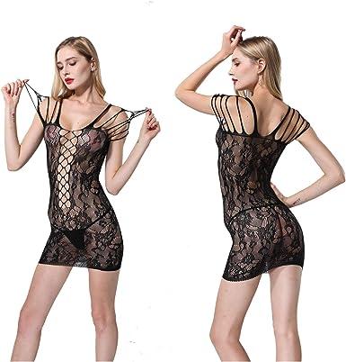 Women Sexy-Lingerie One Piece Sleepwear Hole Fishnet Body Stockings Bodysuit US
