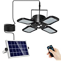 Wonsidary 4-Leaf Solar Pendant Lights Outdoor Indoor, 1000LM 128LED Waterproof Solar Powered Shed Light with Remote, 120…