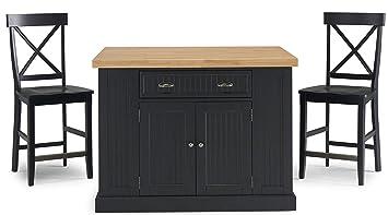 Amazon.com: Nantucket Black Kitchen Island and stools with ...