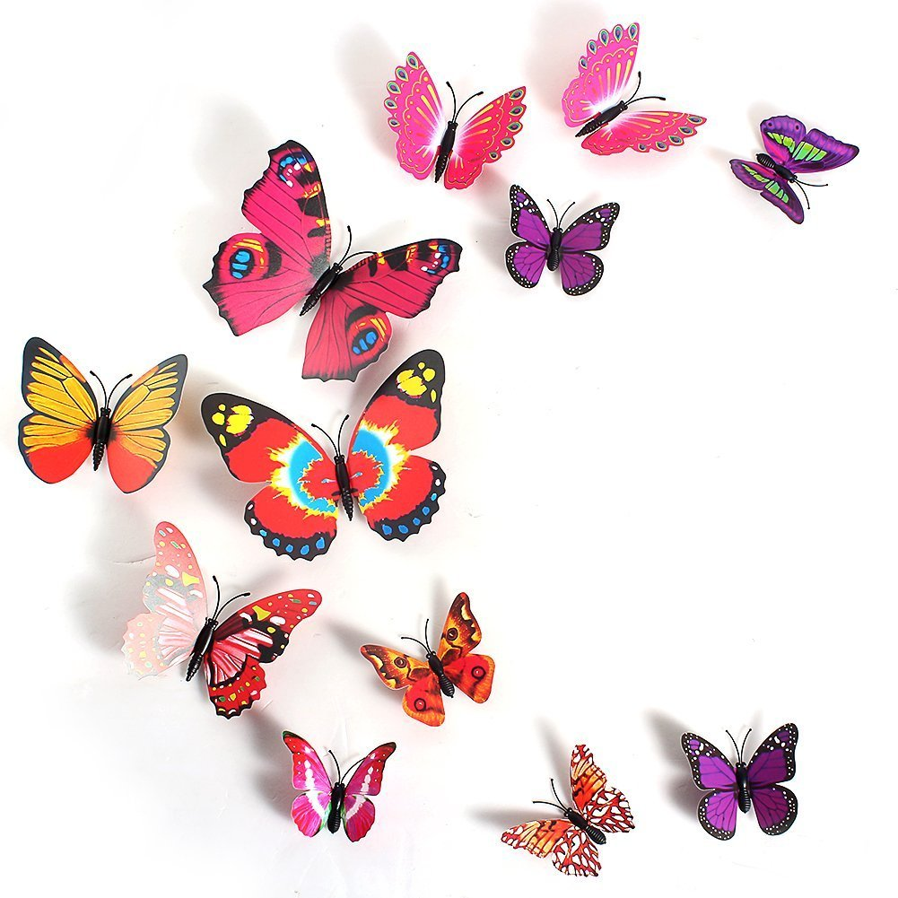 amazon com 2013newestseller 12pcs colorful 3d butterfly sticker amazon com 2013newestseller 12pcs colorful 3d butterfly sticker art design decal wall stickers home room decor home kitchen