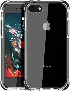 MATEPROX iPhone SE 2020 case iPhone 8 case iPhone 7 Case Clear Shield Heavy Duty Anti-Yellow Anti-Scratch Shockproof Cover Compatible with iPhone 7/8/SE(Black)