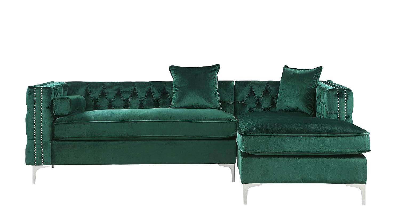 Iconic Home Da Vinci Sofá seccional, Green Velvet, Right ...