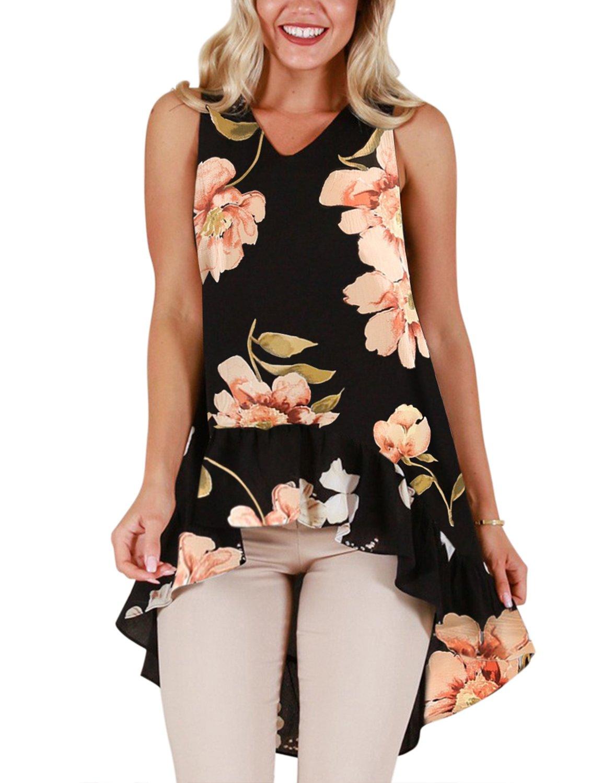 Blooming Jelly Womens Sleeveless V Neck Floral Shirt Blouse Irregular Ruffle Hi Low Hem Tunic Summer Tops(L, Black)
