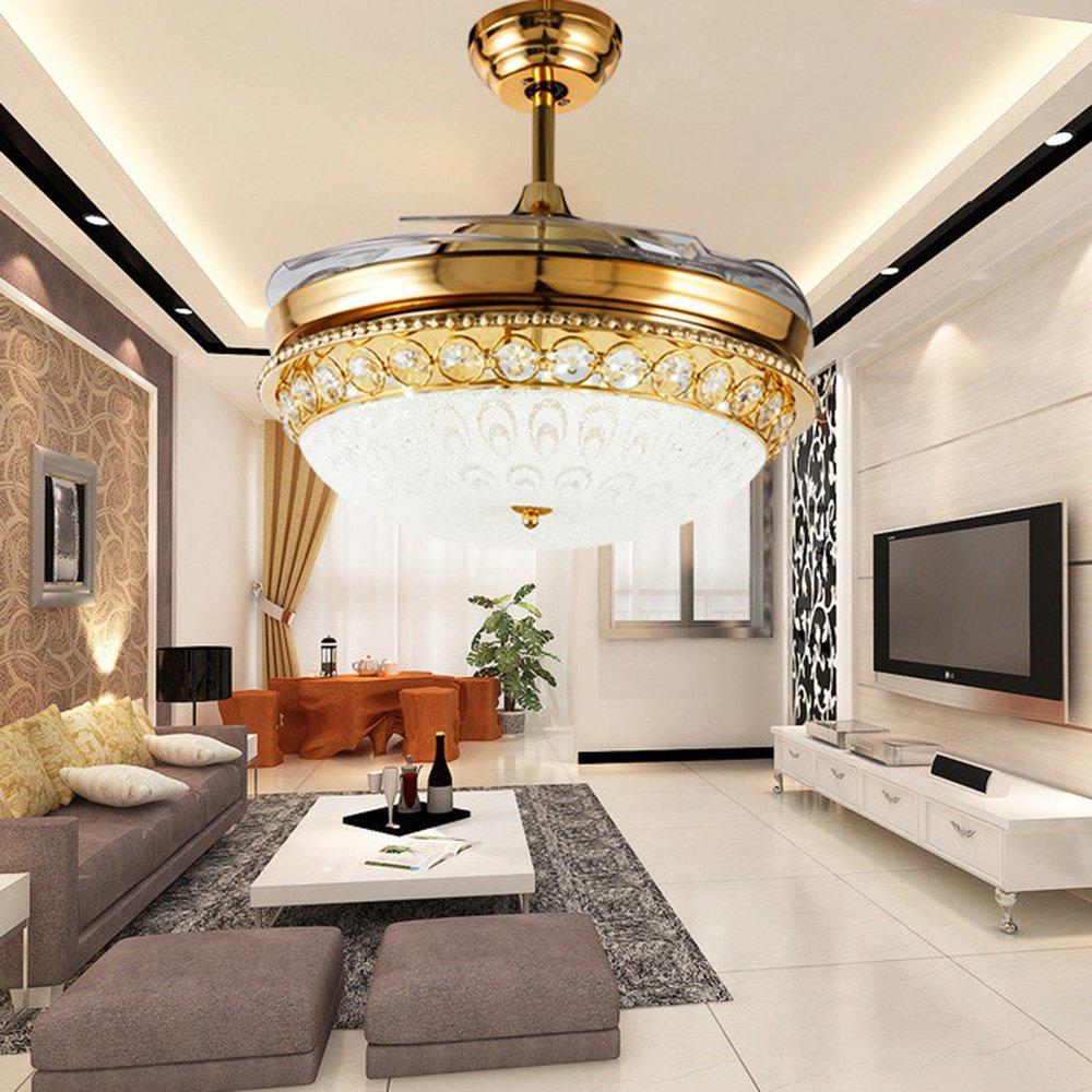 RS Lighting Ceiling Fan Light 48 inch Simple Retractable With LED Silent Fan Chandelier for Bedroom Restaurant Living Room Hotel-Golden
