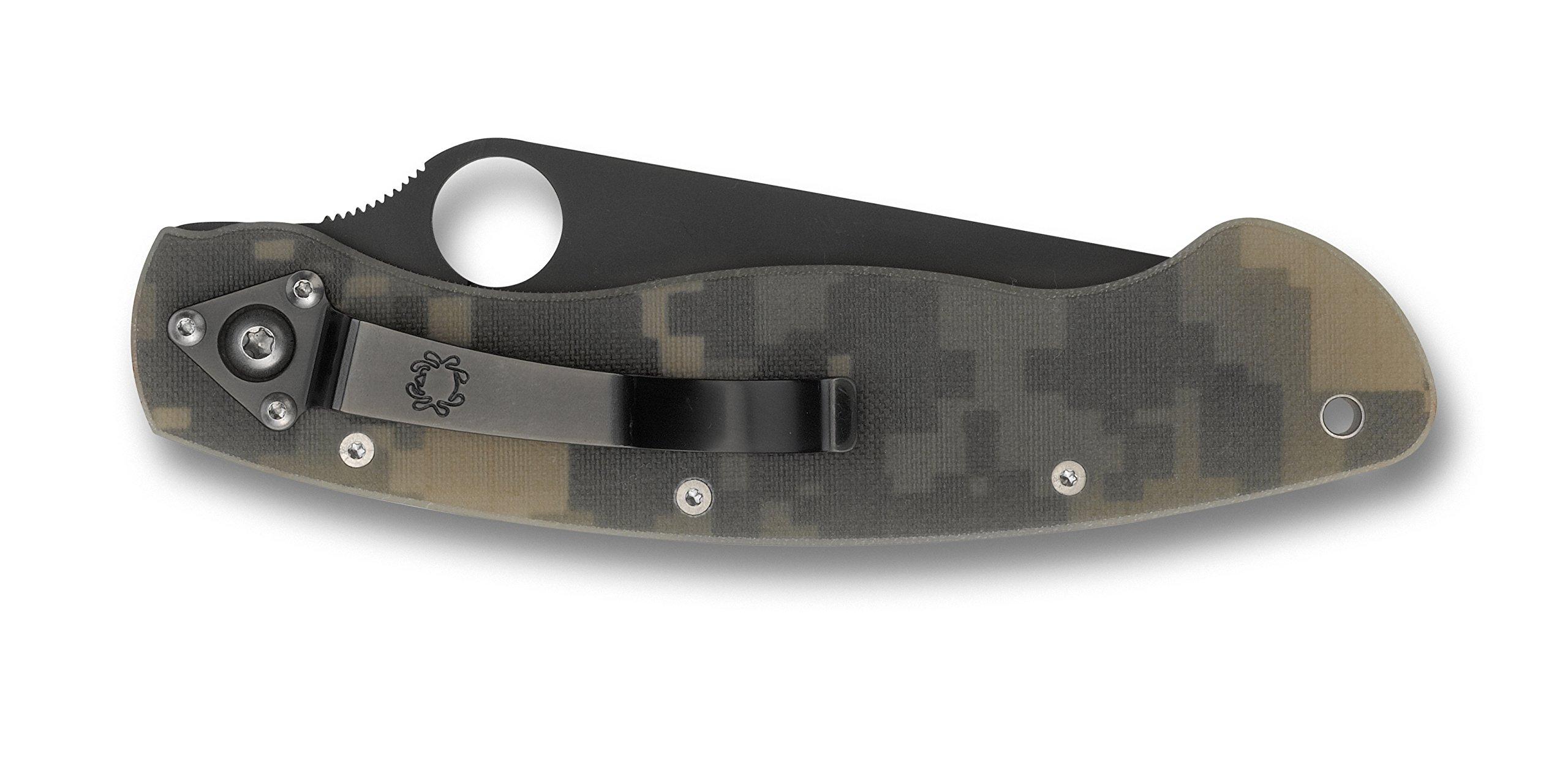 Spyderco (C36GP) Military Model G-10 Black Blade Plain Edge Knife, Camo by Spyderco (Image #1)