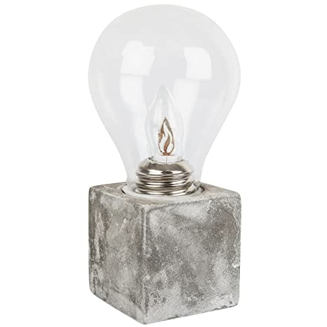Glass Bulb On Cement Base Warm White Led Battery Operated Amazoncom