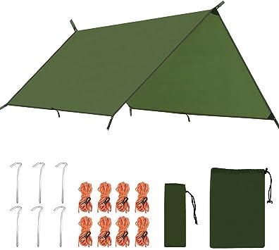 3m x 3m Waterproof Hammock Rain Fly Tent Tarp Shelter Sun Shade Camping Blue UK