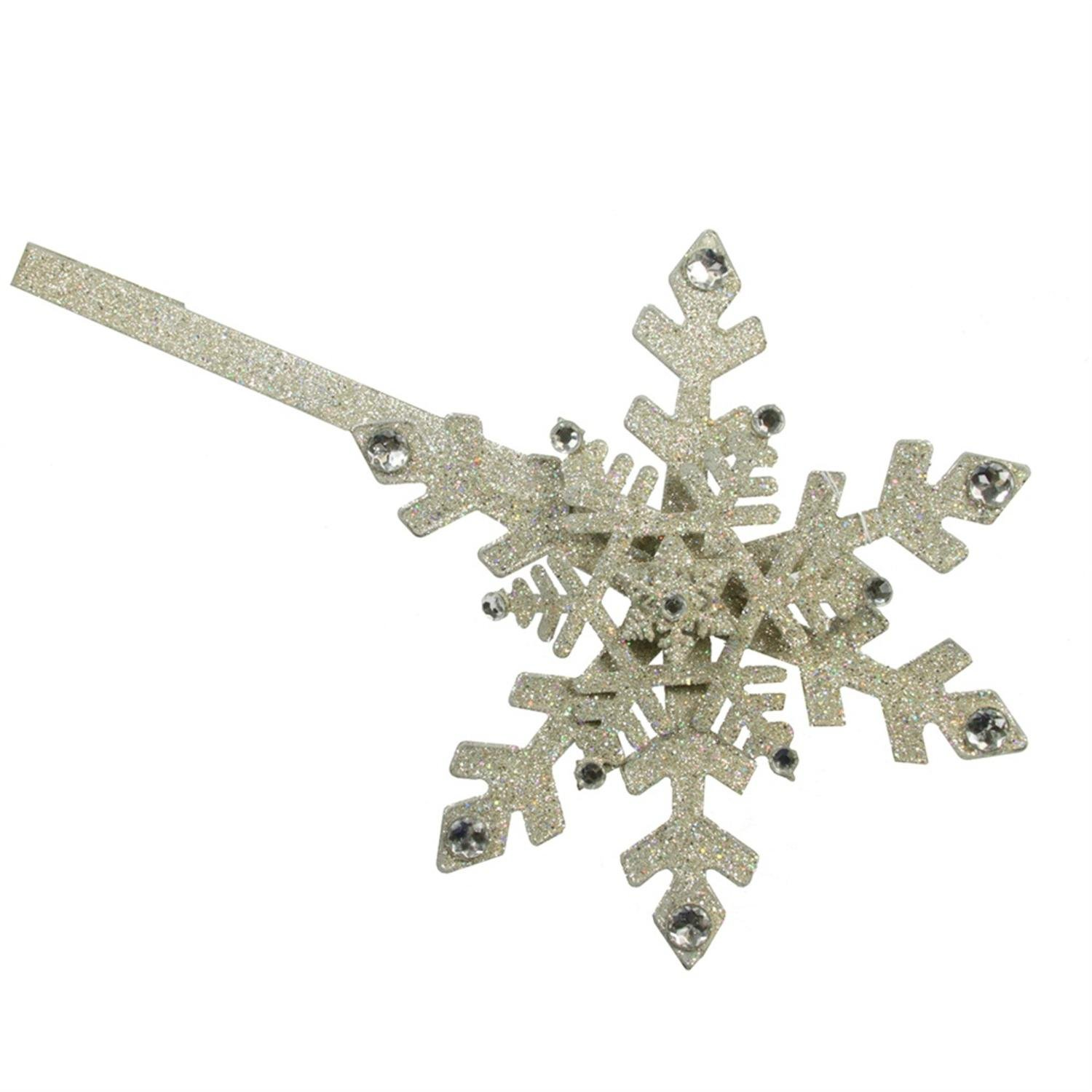STERLING 17'' Shimmering Glitter Drenched Gold Snowflake Christmas Wreath Door Hanger