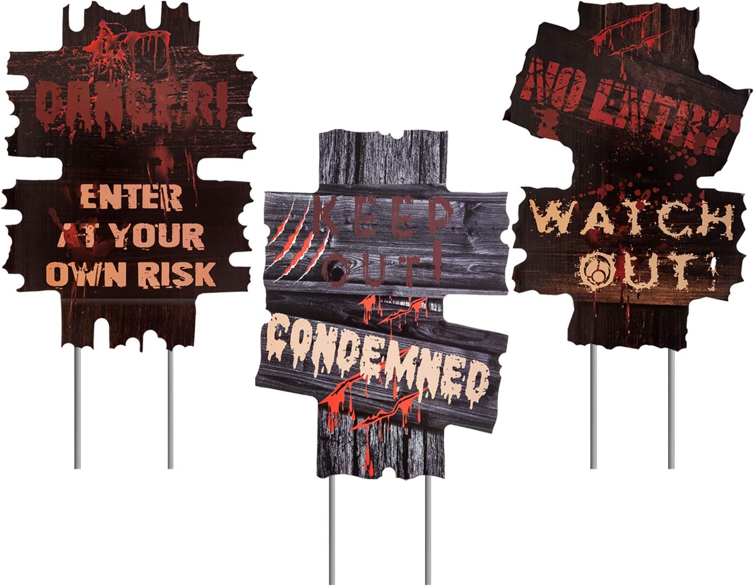 bestwishes 3 Pack Halloween Decorations Yard Signs Stakes Props Outdoor Decor Scary Zombie Vampire Graves Holiday Party Supplies