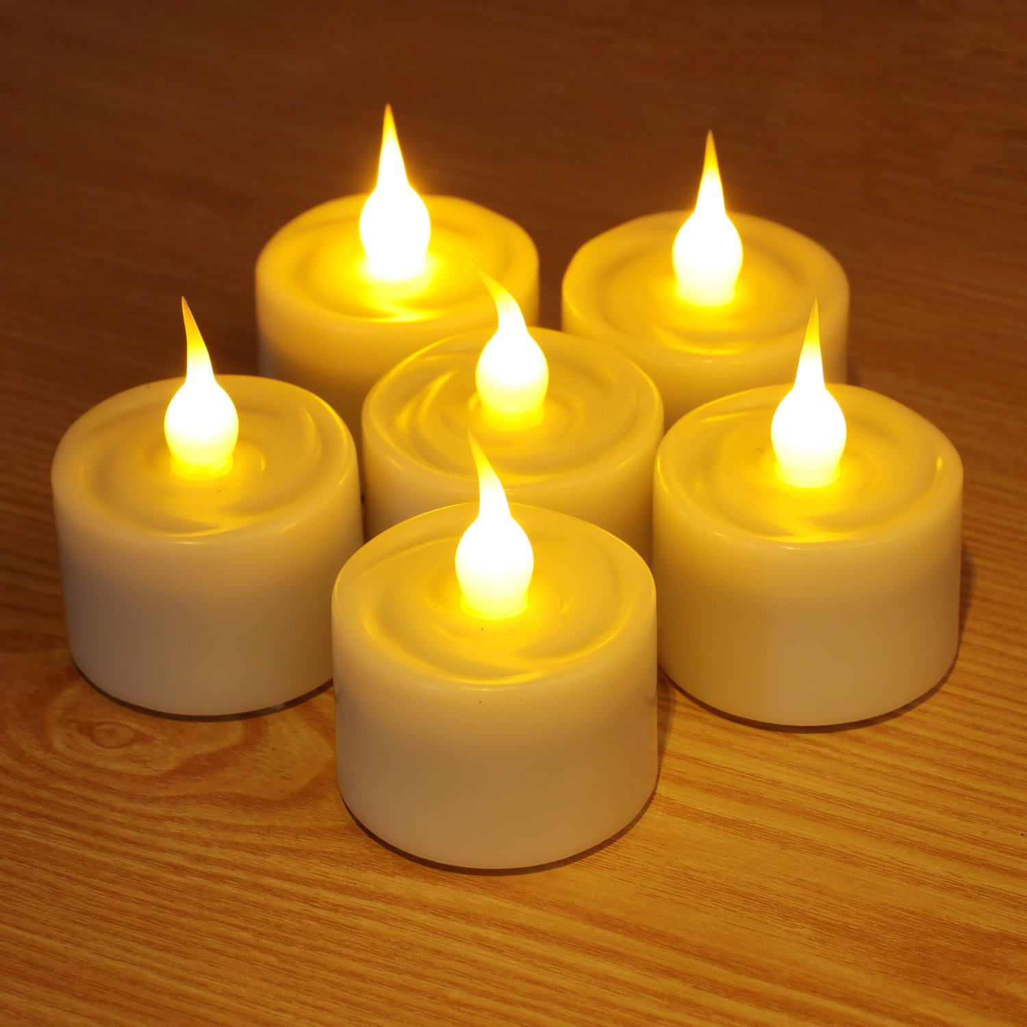 Home Impressions Battery Dia LED TeaLight with Timer (Pack of 6), 1.5'', Ivory