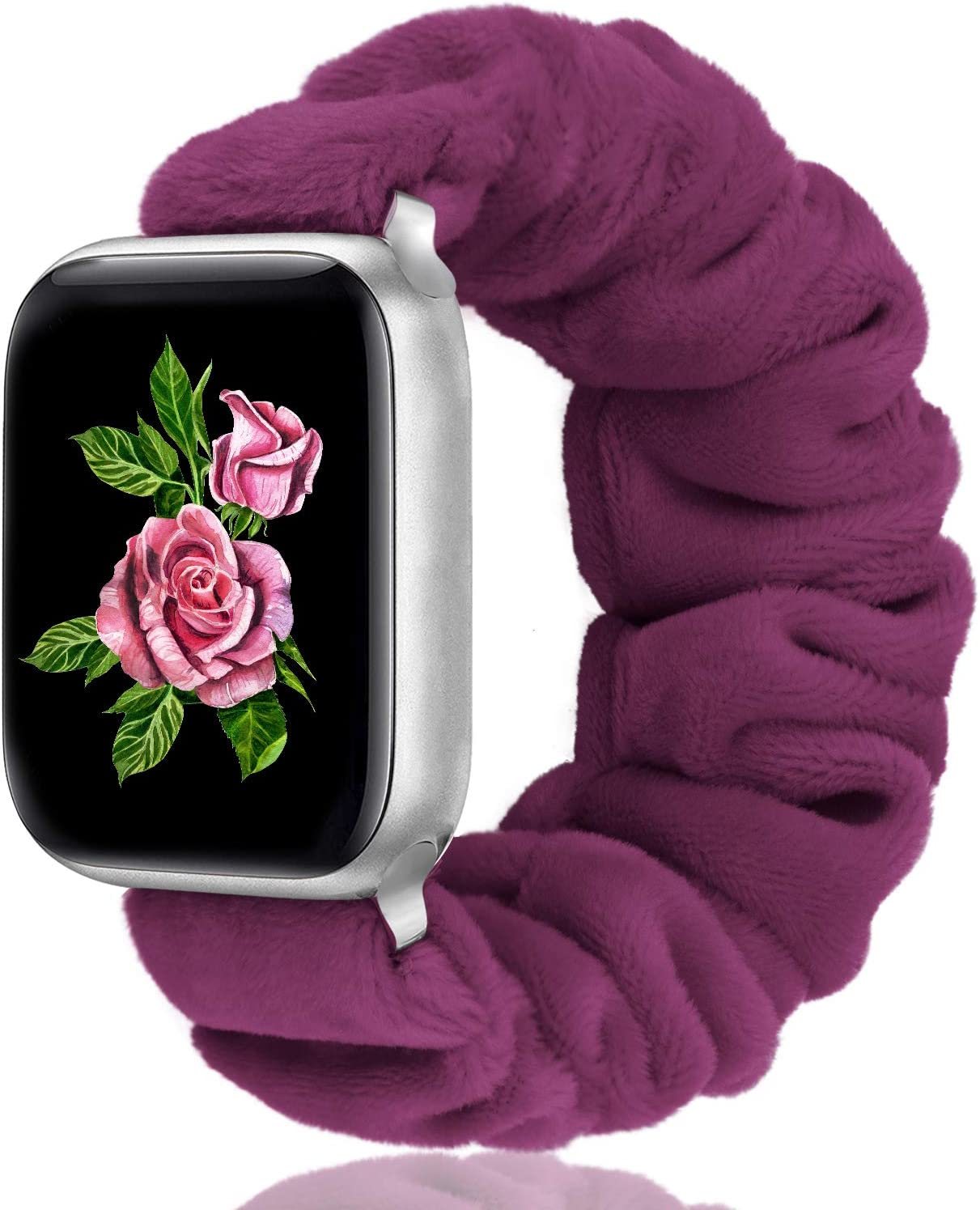 Greatfine Compatible with Apple Watch Band Scrunchie 38mm 40mm 42mm 44mm for Women,Stretchy for iwatch Bands,Short Plush Fabric Bracelet Straps for Apple Watch Series SE 6 5 4 3 2 1(Fuchsia,38/40-S)