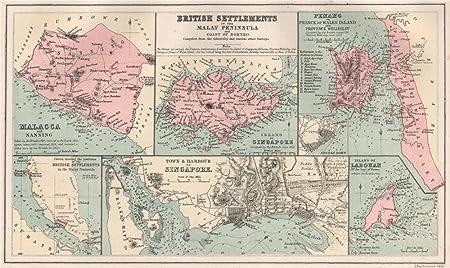 British Malay Settlements Singapore City Plan Malacca Penang