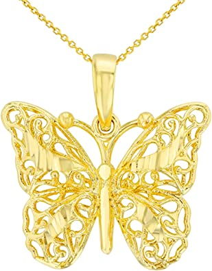 14k Yellow Gold Polished CZ Butterfly Pendant