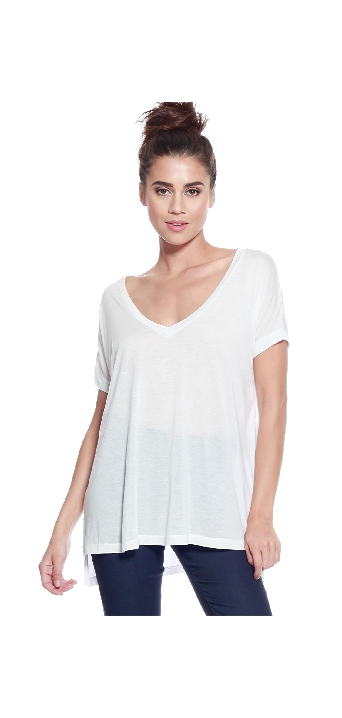 Ad Womens Sexy Relaxed Modal Knit V-neck Loose T-shirt Top