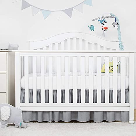 TILLYOU Crib Bed Skirt Pleated 100/% Natural Cotton 14 Drop//White Nursery Crib Toddler Bedding Skirts for Baby Boys or Girls