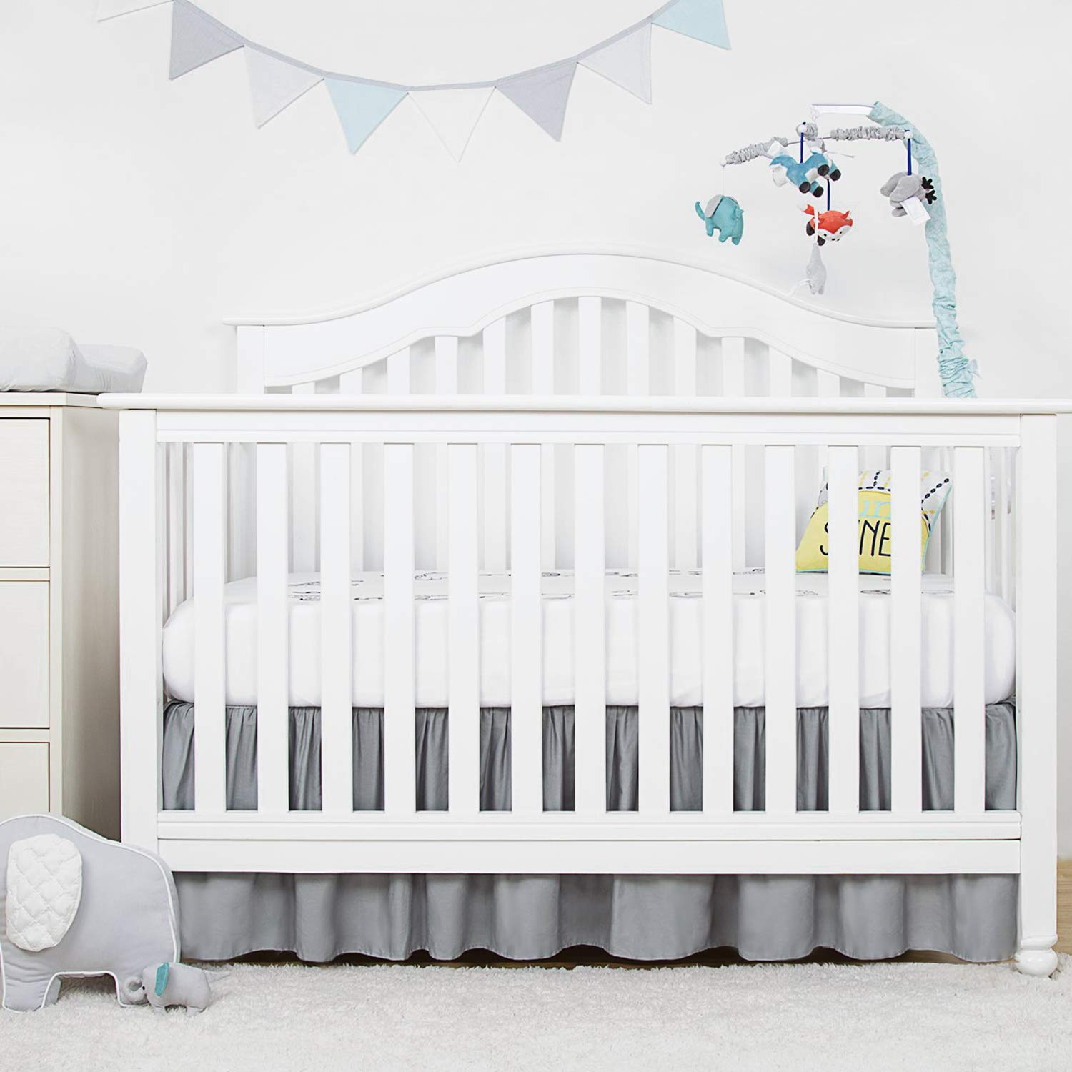 """TILLYOU Gray Crib Bed Skirt Dust Ruffle, 15% Natural Cotton, Nursery Crib  Toddler Bedding Skirts for Baby Boys or Girls, 15"""" Drop, Gray"""
