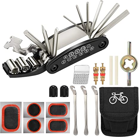 Tagvo Kit de herramientas para bicicleta, 16 en 1 Herramienta multifunción para bicicleta con kit de parche y palancas para neumáticos, Kit de herramientas para reparación de bicicletas, Paquete de he: Amazon.es: