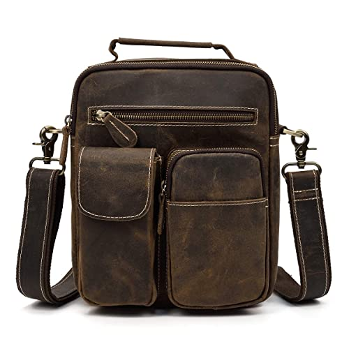 a1fd8e582e Mens Leather Messenger Shoulder Bag Crossbody Bag Tote Bag with Top Handle  and Removable Shoulder Strap