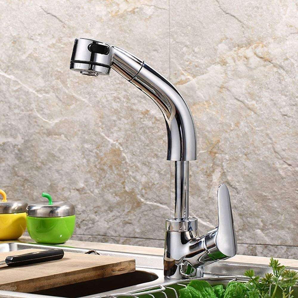 Amazon Com Br Tops Bathroom Sink Faucets With Pull Down Sprayer Dual Water Functions Lift Type Bathtub Faucet Single Hole Hot Cold Mixer Taps Chrome Finish Single Handle Kitchen Dining