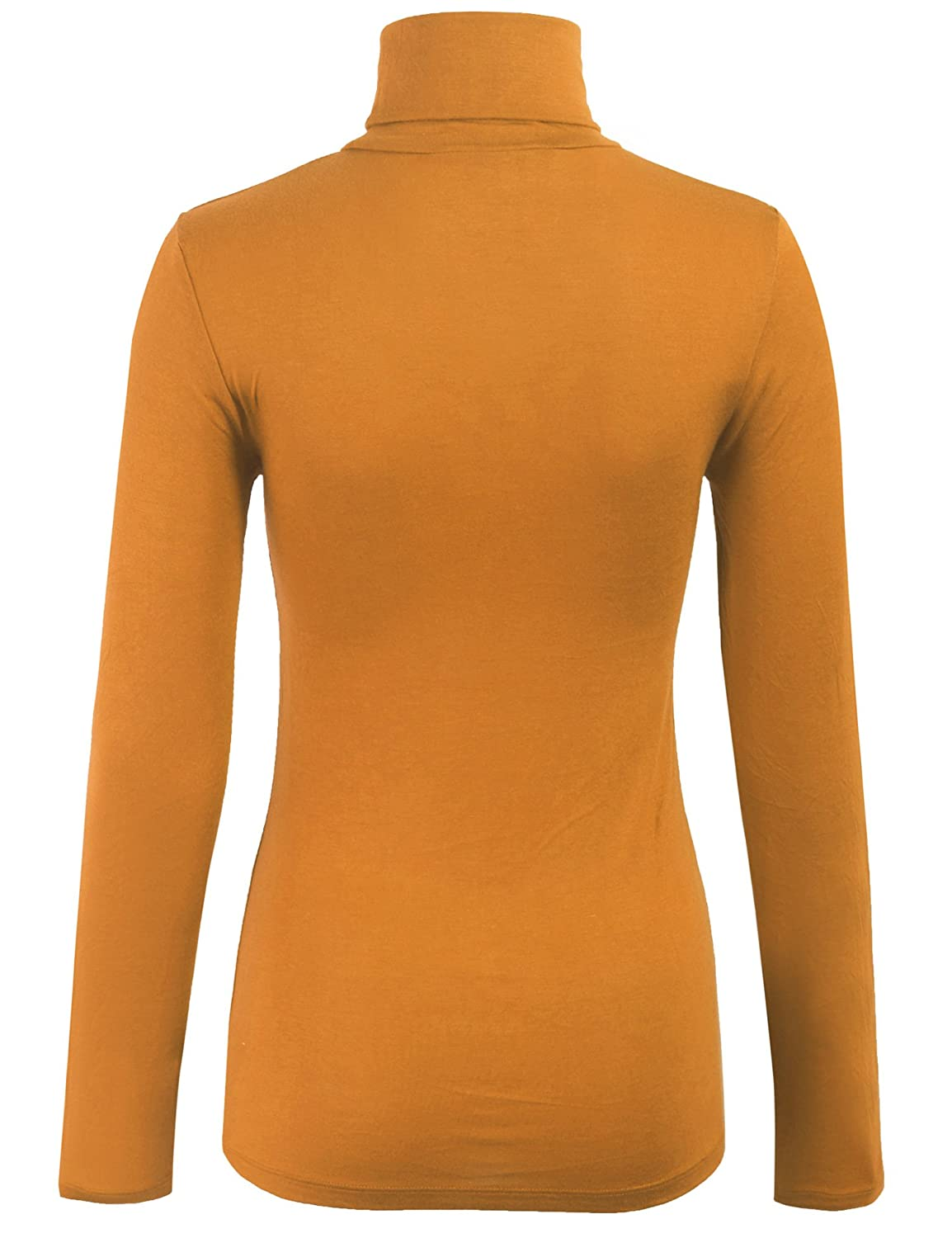 f7be09ff02a415 KOGMO Womens Turtleneck Long Sleeve Basic Solid Fitted Shirt with Stretch  at Amazon Women's Clothing store: