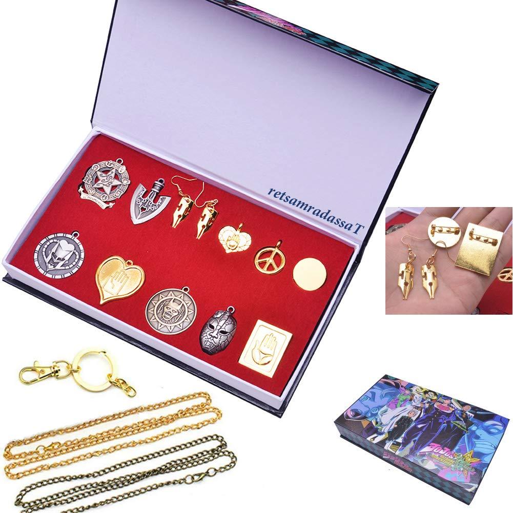 retsamradassaT 12 Pieces Anime JoJo's Bizarre Adventure Kujo Jotaro Keychain Rings Necklace Brooch Earring Pendant Cosplay Jewelry Accessories in Box Gift Set by retsamradassaT