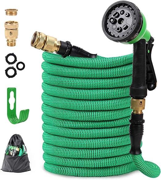 GARDOM Manguera de Jardín Extensible Multifuncional Antifugas Manguera de Agua con 8 Modos de Pulverización y Conector de 3/4 y 1/2 para Limpieza de Riego de Jardines (15m): Amazon.es: Jardín