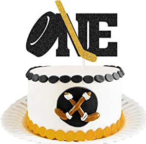 MAGBEA One Birthday Cake Topper - Ice Hockey One Cake Decorations, 1st Happy Birthday Cake Decors for Kids Boys Girls Ice Hockey Sport Themed First Birthday Party Supplies (Double-side Black Glitter)