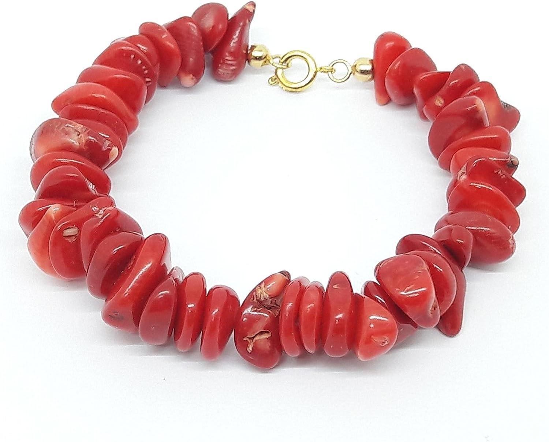 El Coral Pulsera Rojo Chips 9 mm y Cierre Dorado
