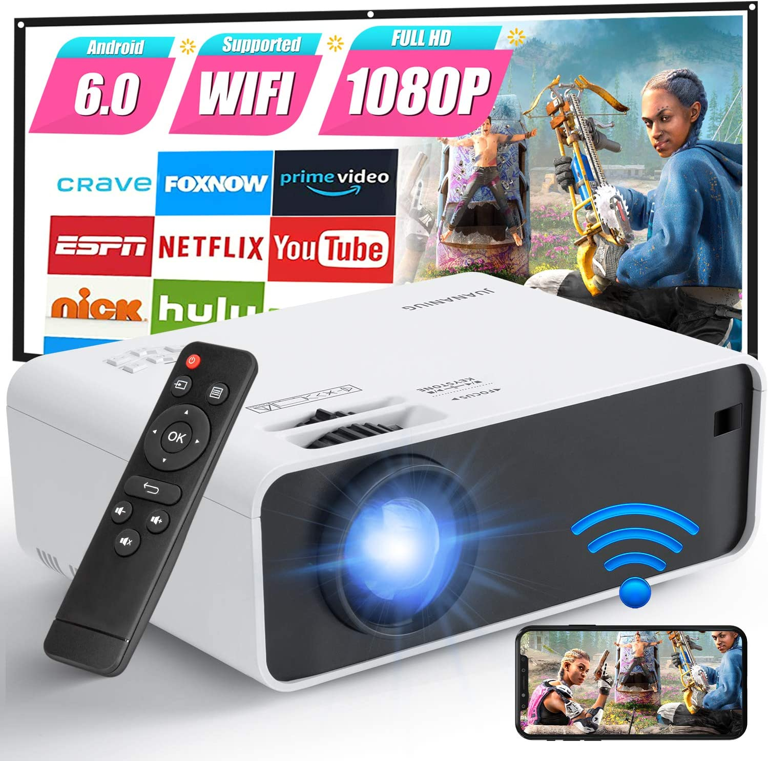 Mini Projector, Portable WiFi Projector with Synchronize Smartphone Screen, Home Theater Projector Built-in Speaker 1080P Supported, Compatible with iPhone,Android,TV Stick,PS4,HDMI,USB,TF,VGA,AUX,AV