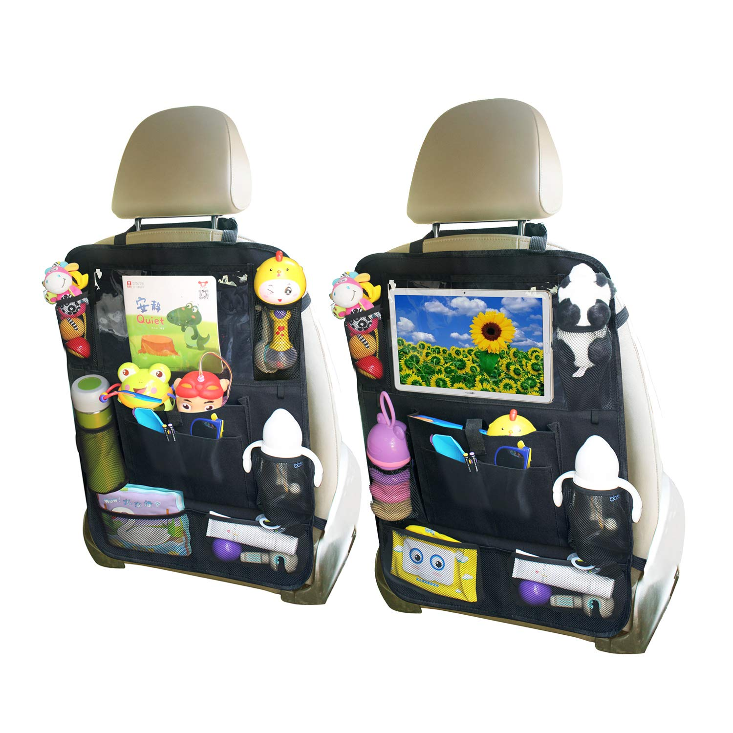 YIJINSHENG Car Backseat Organizer Kick Mats with Touch Screen 10'' Tablet Holder & 8 Storage Pockets Back Seat Protector for Toys Book Bottle Drink Kids Baby Toddler Travel Accessories (2 Pack) by YIJINSHENG
