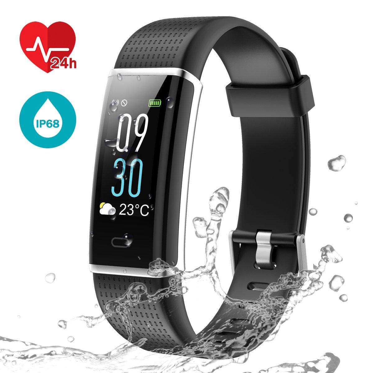 Fitness Tracker [Schermo a colori], LATEC Cardiofrequenzimetro Smartwatch Activity Tracker Impermeabile IP68 Braccialetto Intelligente Pedometro con 14 modi di sport Meteo Monitor di sonno Chiamata SMS Notifica 04-5018