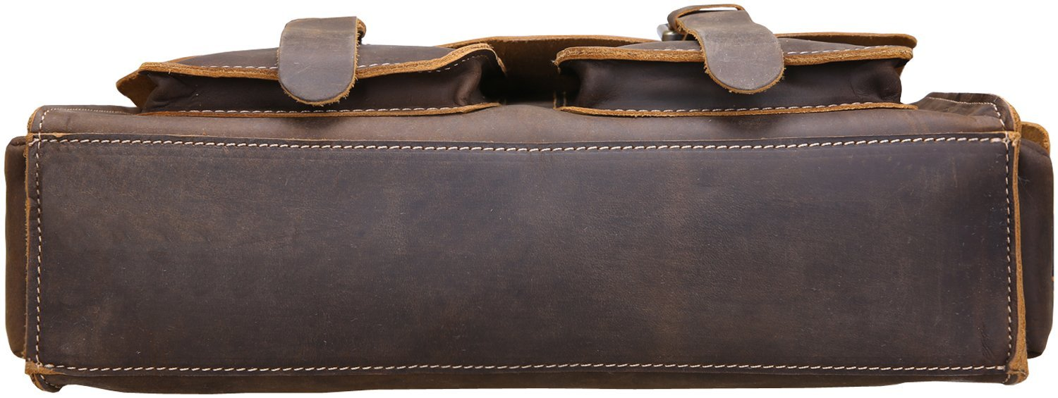 Iswee Vintage Leather Messenger Bag 13.3'' Laptop Briefcase Shoulder Bag for Men by Iswee (Image #7)