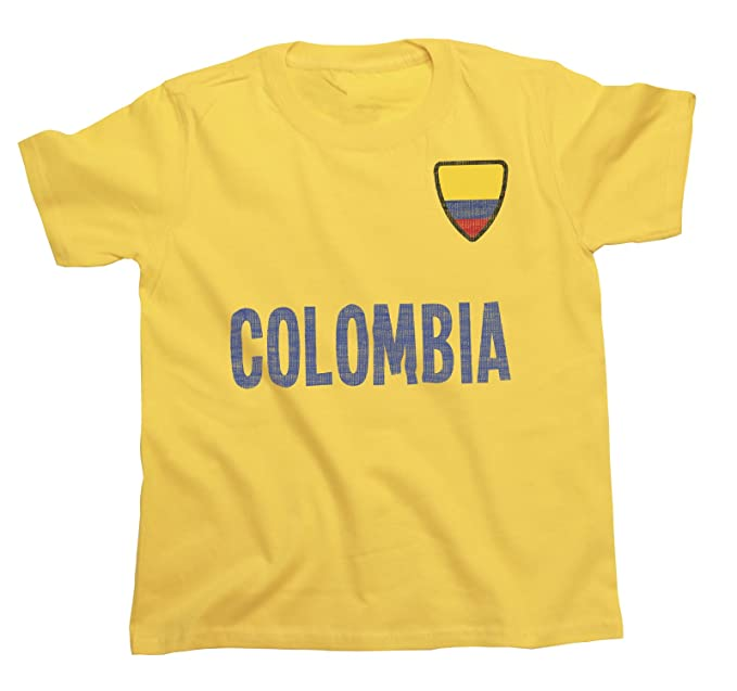 Niños O Niñas Colombia Country Name and Badge Camiseta Fútbol Copa Mundial 2018 Kids Sports