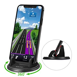 SRUNP Car Phone Mount with Three-Point Support for Car Dashboard, 360 Degree Rotatable Washable Cell Phone Holder for Car Compatible Smartphones and GPS Devices
