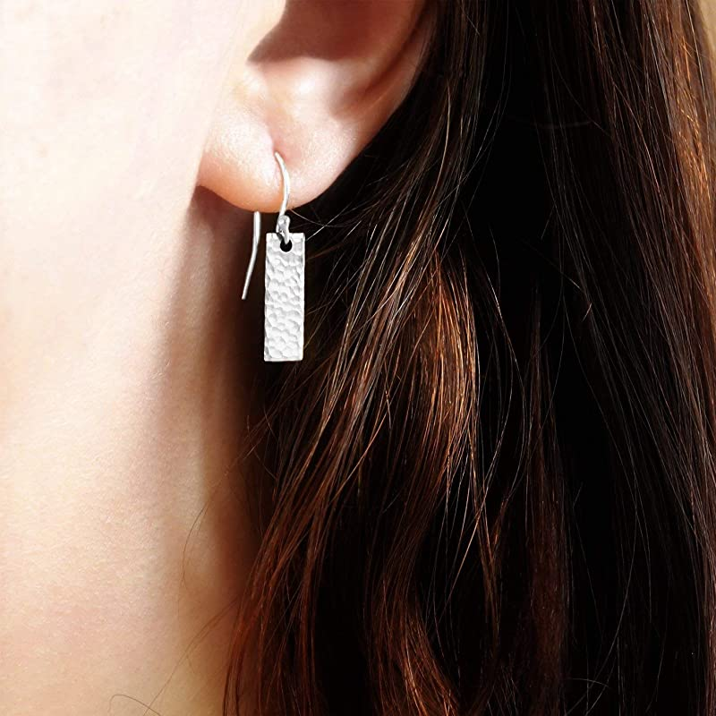 Everyday Earrings Small Minimalist Silver Aluminum Rectangles
