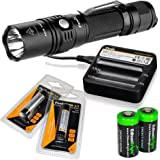 Fenix PD35 2015 Edition 1000 Lumen CREE XP-L LED Tactical Flashlight with 2X Fenix ARB-L2 18650 rechargeable batteries, Fenix ARE-C1 Battery charger and Two EdisonBright CR123A Lithium Batteries