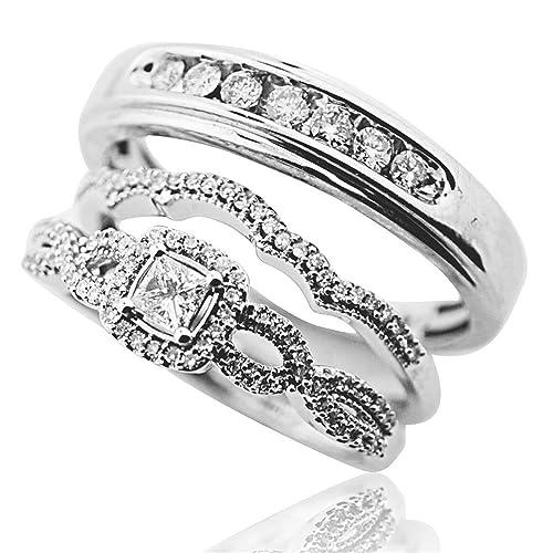 Princesa Cut Diamond Trio Set 10 K oro blanco anillos de boda novia y novios (