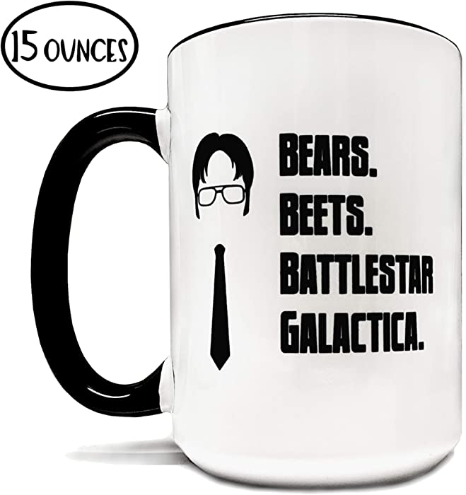 Bears. Beets. Battlestar. Galactica. 15oz Grade A Quality Two Tone Ceramic Mug/Cup - Inspired By The Tv Show The Office - Foam Box Protection (Perfect Funny Gift)