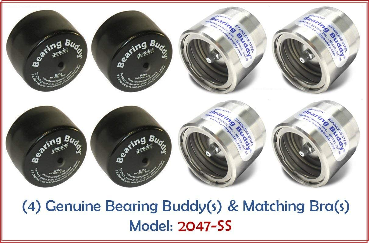 Bearing Buddy Stainless Steel Wheel Bearing hub Protector 1 Pair with Protective Bras Model 2047-SS 2.047 Diameter