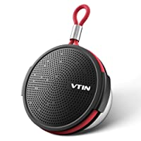 VTIN Shower Waterproof Bluetooth 4.2 Speaker, IPX5 Waterproof, 5W Drive, 8+hrs Playtime, Detachable Suction Cup, Handsfree, Support TF Card, Portable Outdoor Speakers for Party/Bathroom/Home/Travel