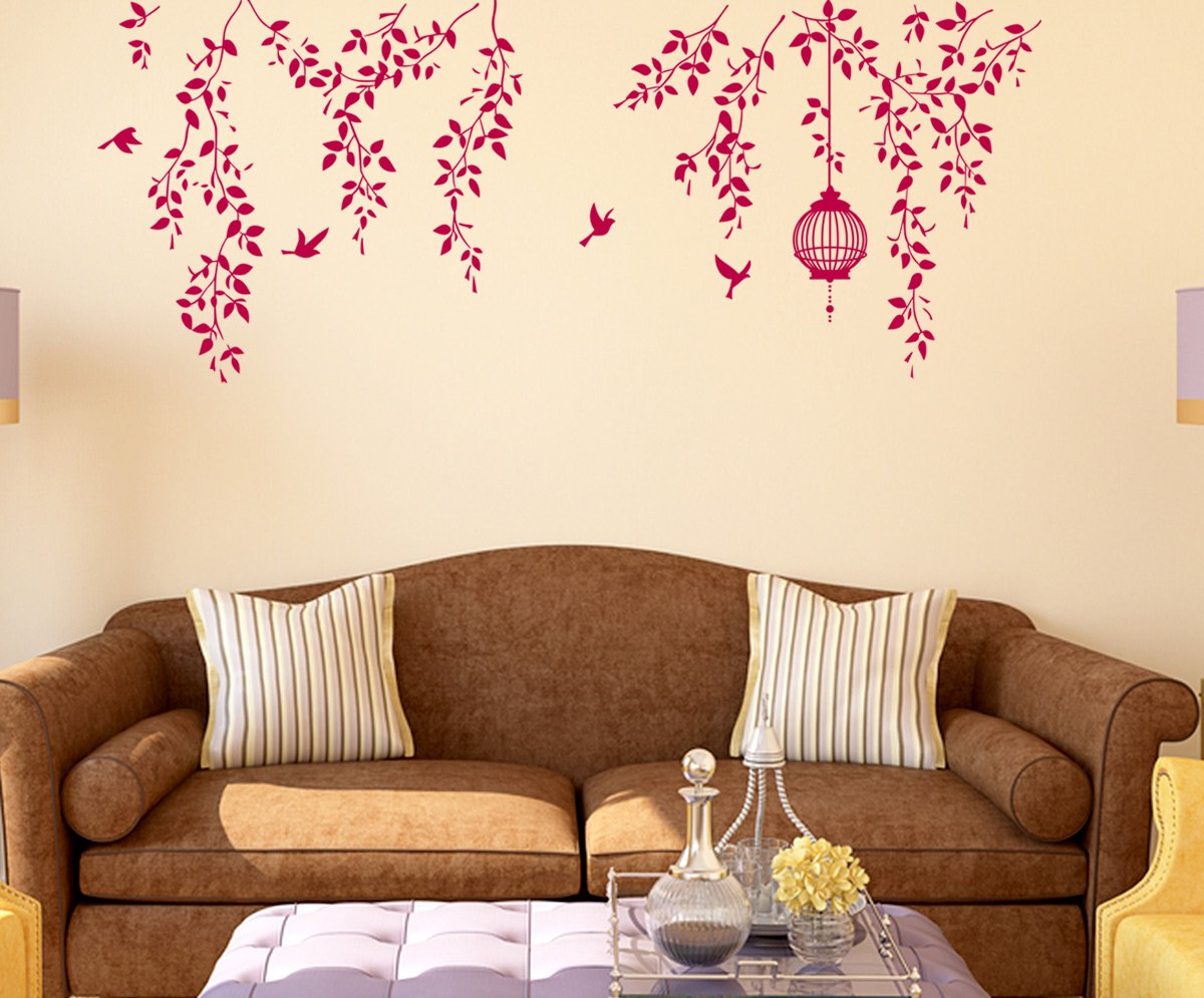 buy decals design hanging vines with cage and birds wall sticker buy decals design hanging vines with cage and birds wall sticker pvc vinyl 70 cm x 50 cm online at low prices in india amazon in
