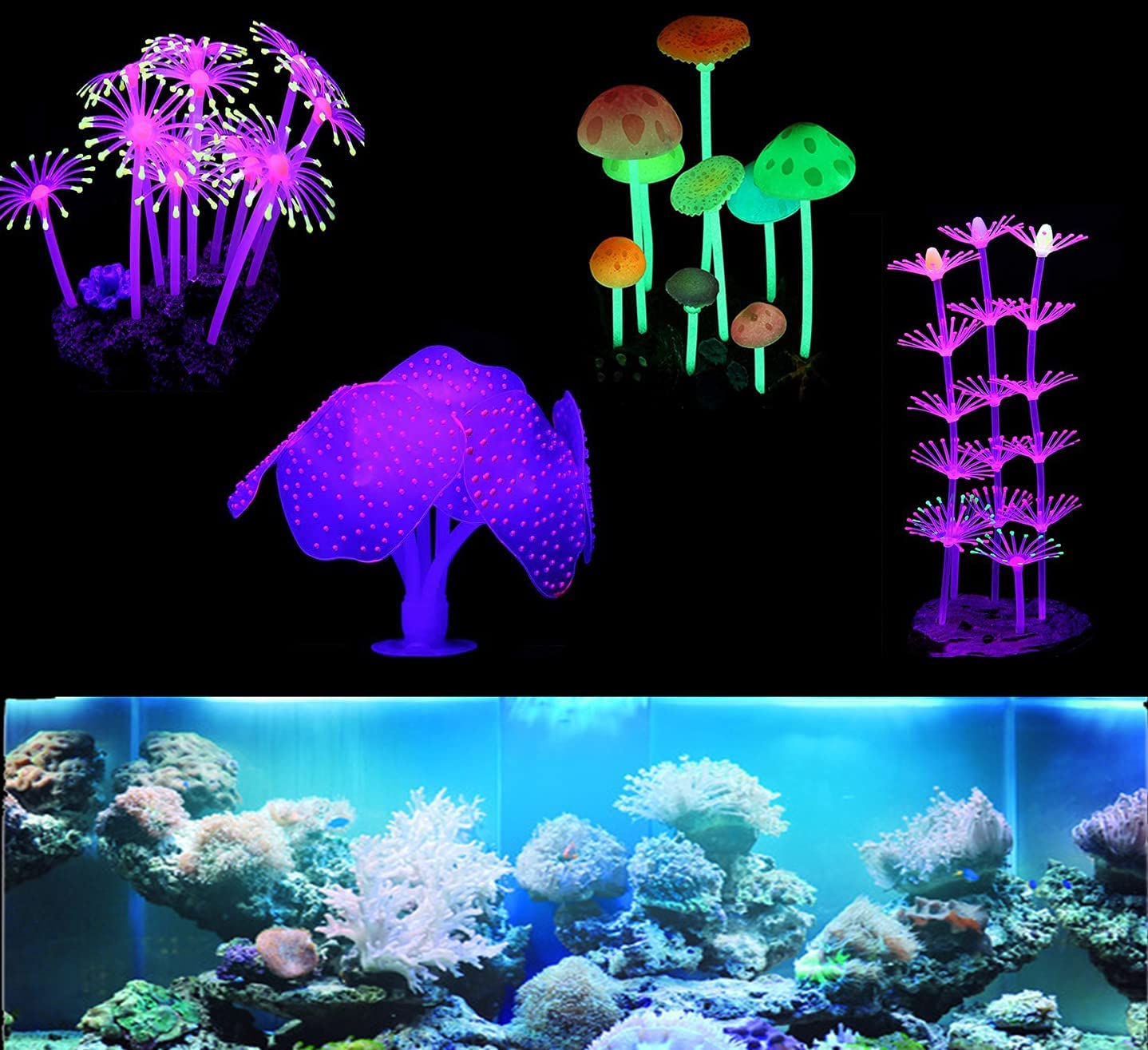 eWINNER 4 Pack Glowing Aquarium Decorations, Ornament Silicone Coral Plant, Reef Glowing, Mushroom and Anemone Simulation for Fish Tank Decorations