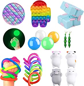A AURA Sensory Fidget Toys Set,Autism Needs Stress Reliever Anxiety Relief Toys, Push pop Bubble, Infinite Cube,Squeeze Beans,Stress Balls,Stretchy String Toys Set (Set-3)
